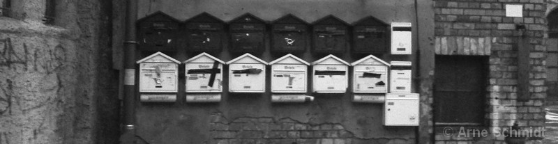 Anybody home? - Taped mail boxes in the backyard of Postfuhramt, Berlin Mitte, January 2013