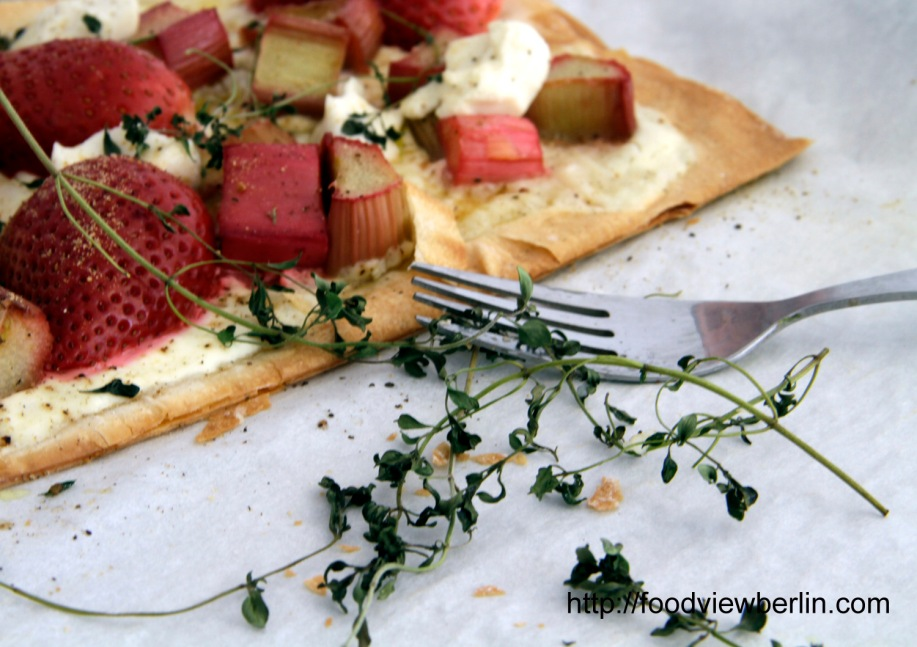 Filo Tarte with Strawberries, Rhubarb and Goat's Milk Cheese