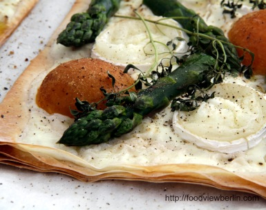 Filo Tarte with Green Asparagus, Loquats and Goat's Milk Cheese
