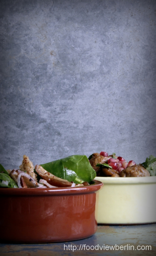 Little mezze: Lebanese-style seitan and spinach salad with dates & almonds