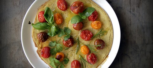 Summer Socca with Cherry Tomatoes