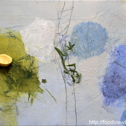 Painting by Constance Schrall @BLO Ateliers with squeezed lemons and tarragon