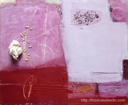 Painting by Constance Schrall @BLO Ateliers with garlic, pine nuts, and wild Provence flowers