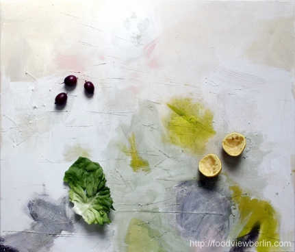 Painting by Constance Schrall @BLO Ateliers with lettuce, gooseberries, and lemons