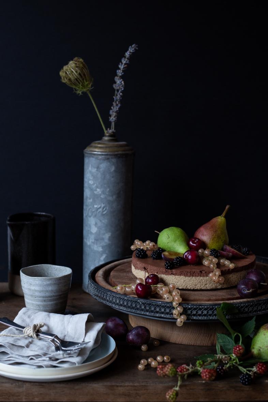 Mousse au chocolat, cake, aquafaba, vegan, vintage