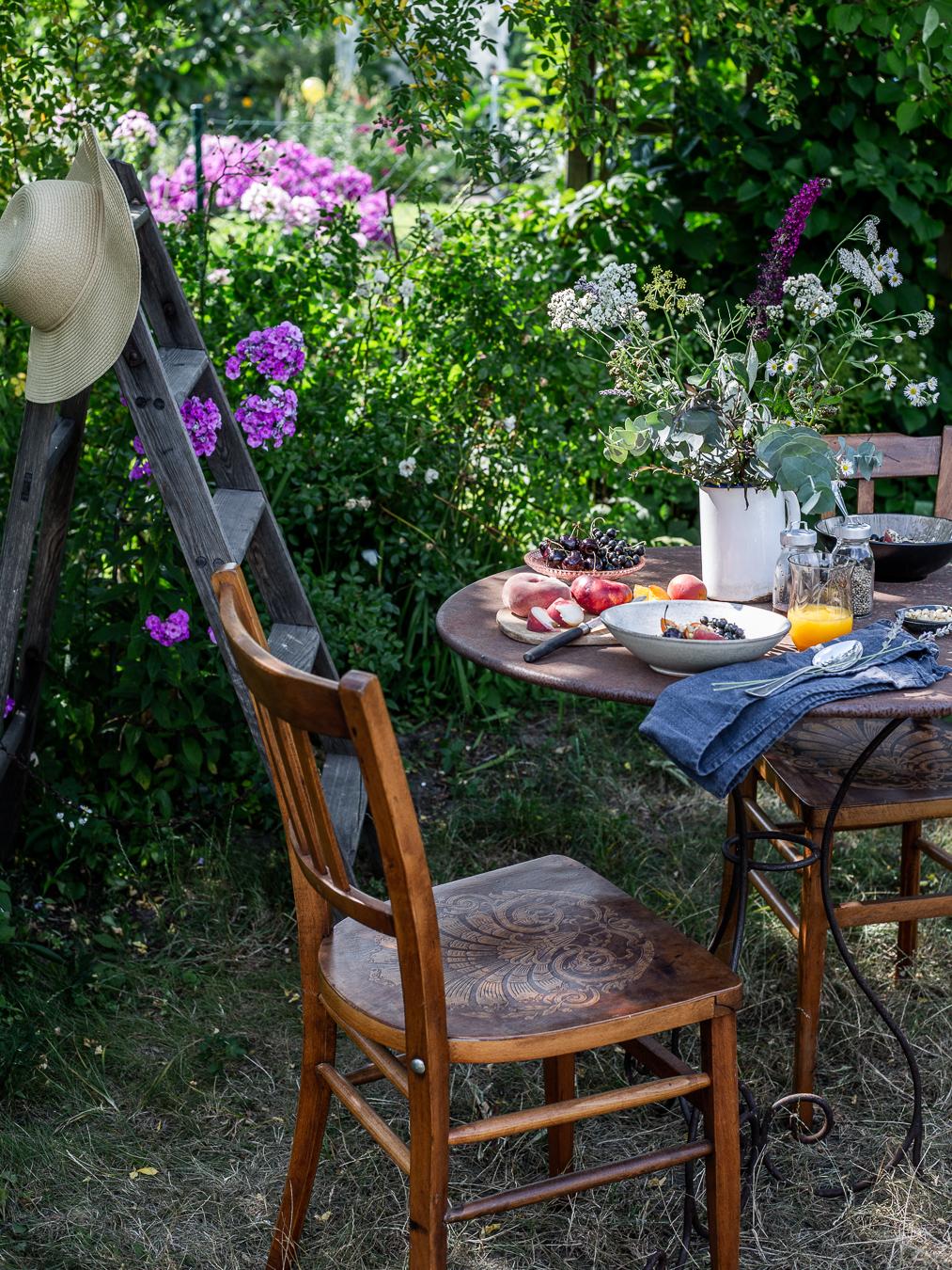 summer, breakfast, garden