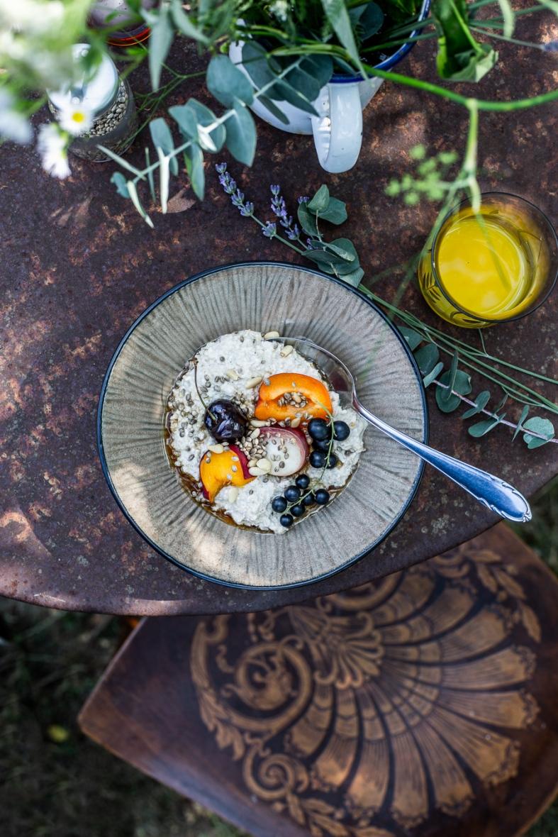 porridge, summer, breakfast, garden, fruit