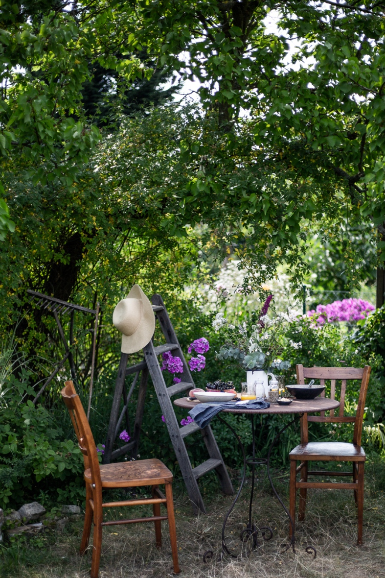 summer, breakfast, garden