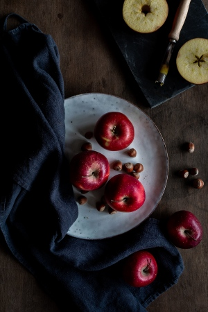 apples, plate, cutter