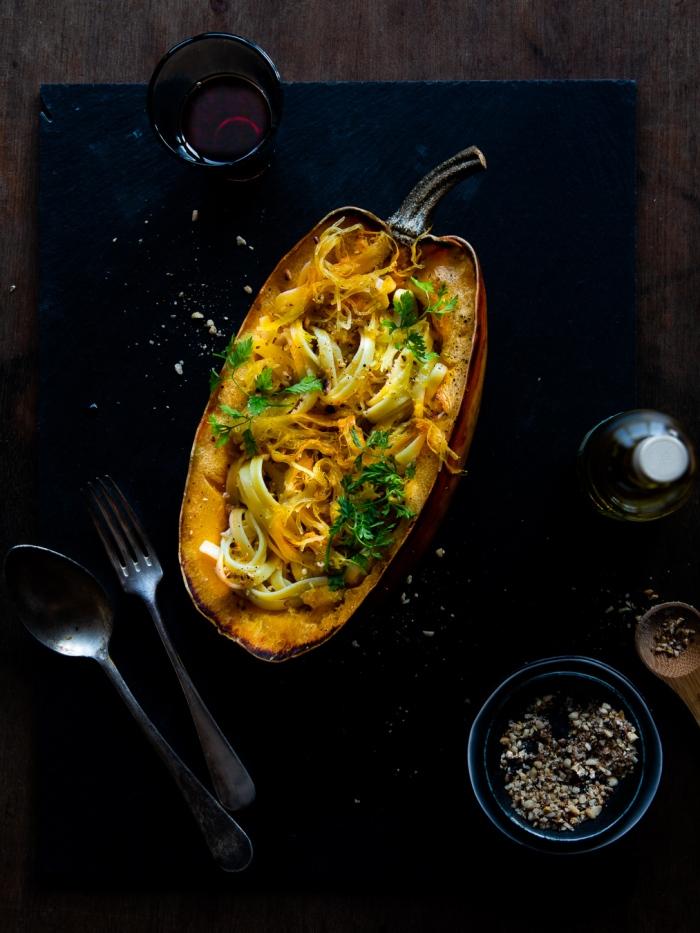 spaghetti squash, spaghettikuerbis, pasta, gefuellt
