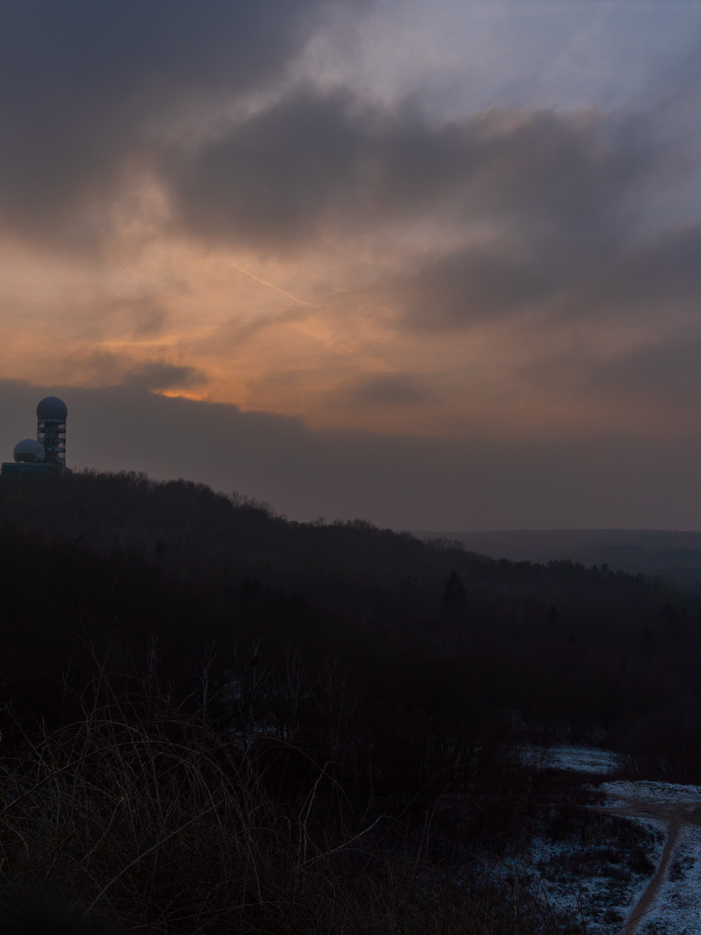 teufelsberg, berlin, sunset, sonnenuntergang, winter