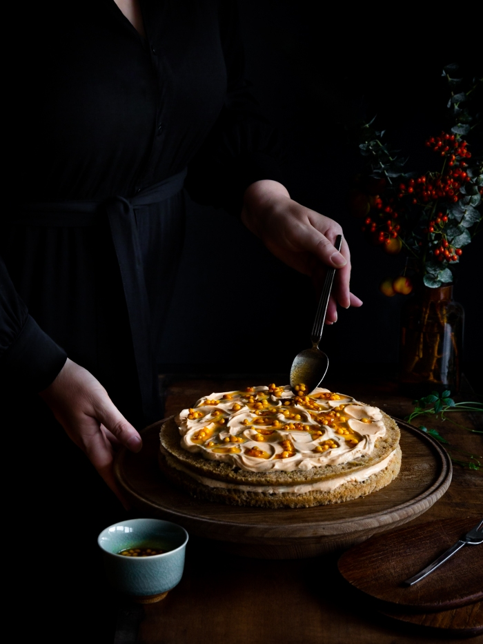 vegan, layer, cake, sea-buckthorn